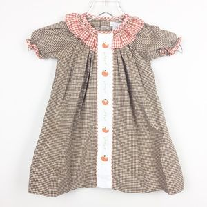 Petit Ami | Gingham Pumpkin Patch Fall Dress 18mo.